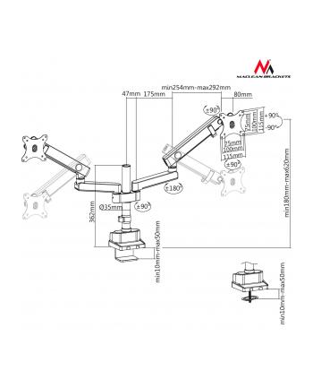 Uchwyt biurkowy do 2 monitorów Maclean MC-812 (biurkowy  Uchylny; 17  - 32 ; max 16 kg)