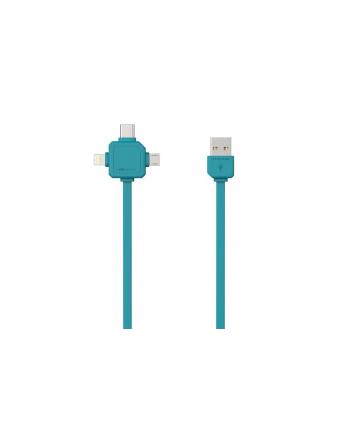 Kabel allocacoc USBcable 9003BL/USBC15 (USB M - Lightning  Micro USB  USB typu C M; 1 5m; kolor niebieski)
