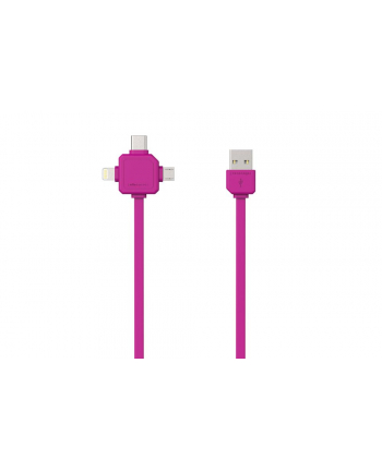 Kabel allocacoc USBcable 9003PK/USBC15 (USB M - Lightning  Micro USB  USB typu C M; 1 5m; kolor różowy)