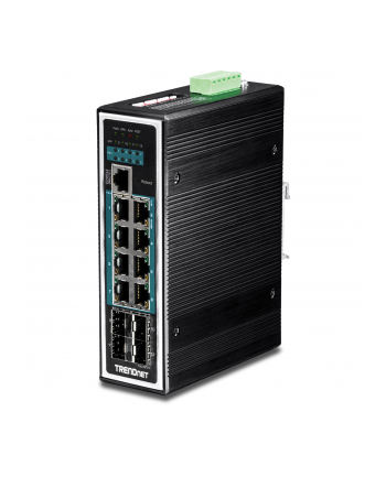 trendnet Przełącznik TI-PG1284I 8-Port 1GB PoE Plus+4Port 1GB SFP Przemysłowy Zarządzalny DIN Rail