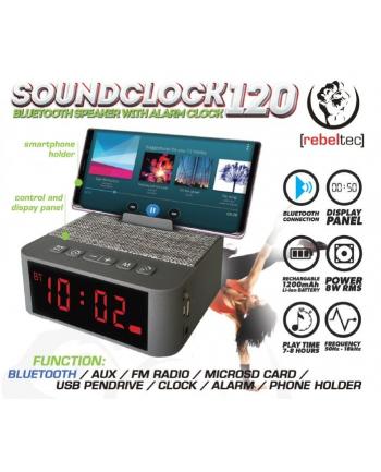 rebeltec Głośnik przenośny Bluetooth SoundClock 120, srebrny, z funkcją radiobudzika