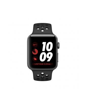 Apple Watch Nike+ Series 3 GPS + Cellular, 38mm Koperta z aluminium w kolorze gwiezdnej szarości z paskiem sportowym Nike w kolorze antracytu/czarnym