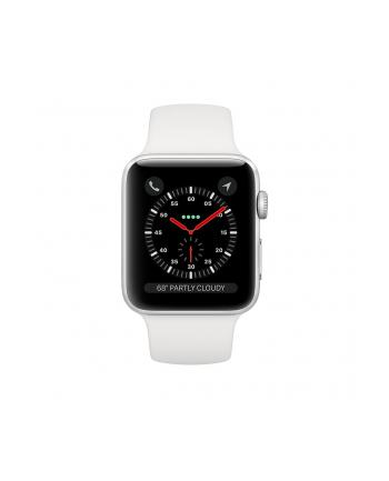 Apple Watch Series 3 GPS + Cellular, 42mm Koperta z aluminium w kolorze srebrnym z paskiem sportowym w kolorze białym