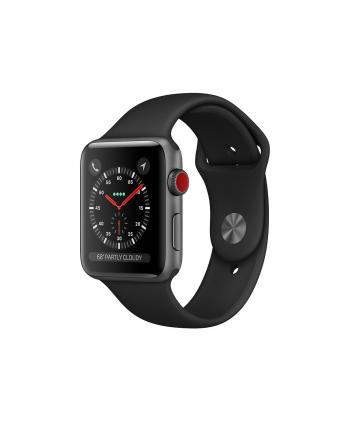 Apple Watch Series 3 GPS + Cellular, 42mm Koperta z aluminium w kolorze gwiezdnej szarości z paskiem sportowym w kolorze czarnym