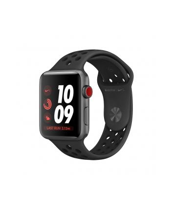 Apple Watch Nike+ Series 3 GPS + Cellular, 42mm Koperta z aluminium w kolorze gwiezdnej szarości z paskiem sportowym Nike w kolorze antracytu/czarnym