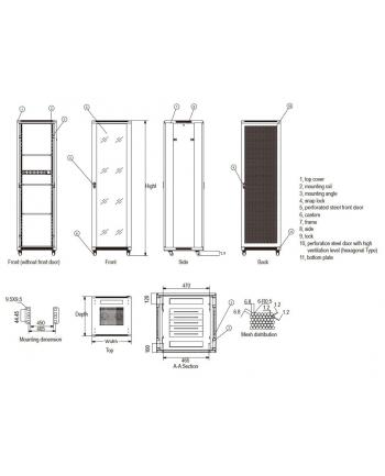 Linkbasic szafa stojąca rack 19'' 42U 600x800mm czarna (drzwi perforowane)