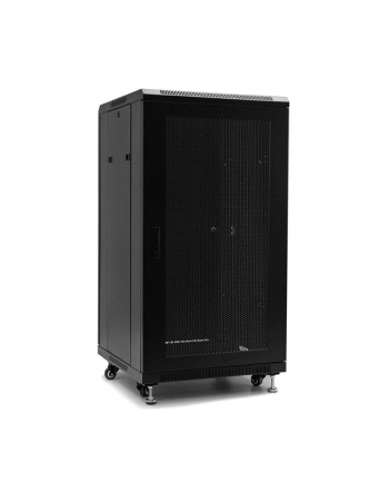 Netrack standing server cabinet 22U/600x600mm (perforated door) -black FULLY ASS