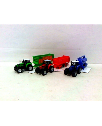 midex Traktor z przyczepą metal 6szt/box 0278B 0623A