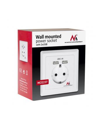 Maclean MCE237 Gniazdko prądowe do zabudowy z 2xUSB USB 5V, 2.4A 86x86mm